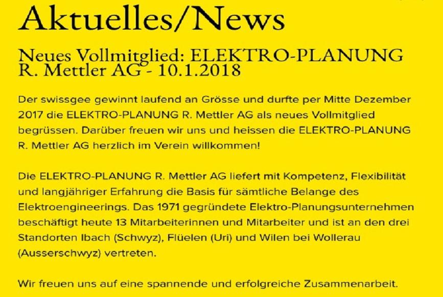 ELPL R. Mettler AG bei swissgee aufgenommen